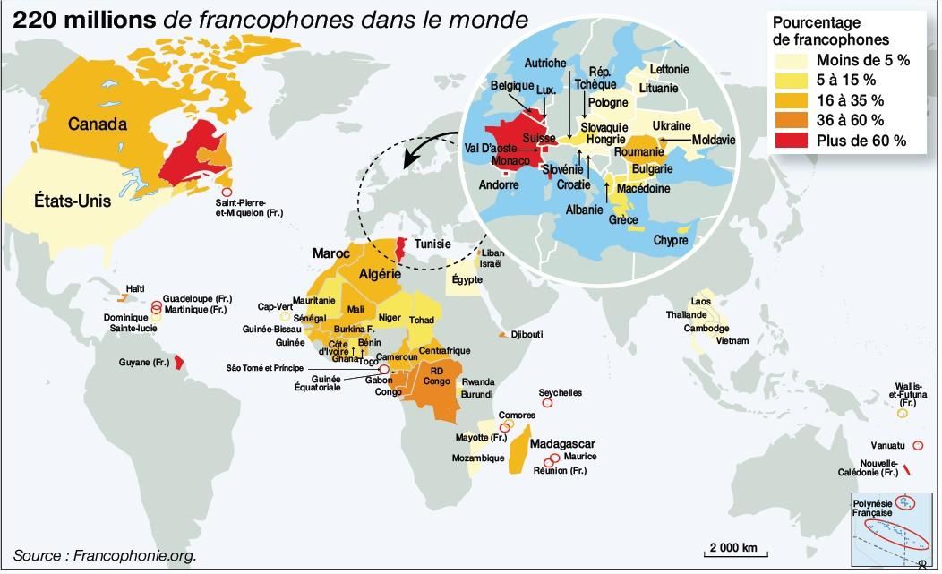 Connu Où parle-t-on français dans le monde? Dans les Pays Francophones  NI29