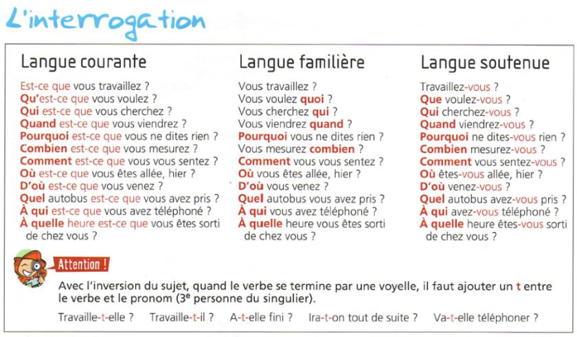Zdania i pytania - zadawanie pytań 8 - Francuski przy kawie