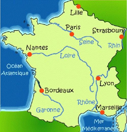 carte de france avec les 5 principaux fleuves