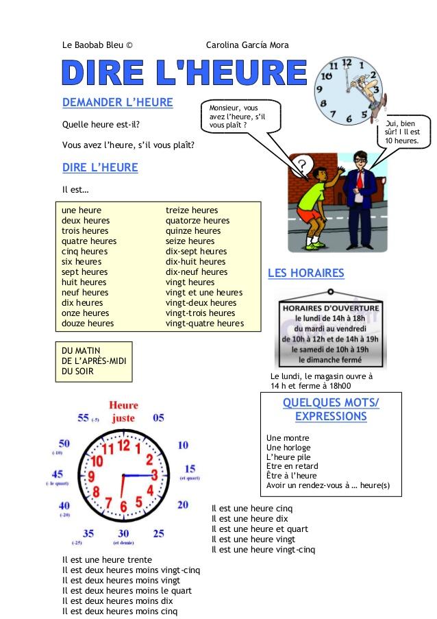 Godziny - słownictwo 18 - Francuski przy kawie